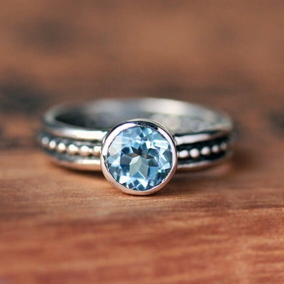 Blue aquamarine ring - stack ring - March birthstone - gemstone jewelry - oxidized silver ring - recycled metal  - modern - Cool Crush ring
