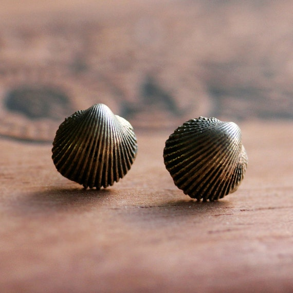 Tiny clam shell earrings - seashell studs - ocean - brass metal - oxidized - post earrings - raw collection