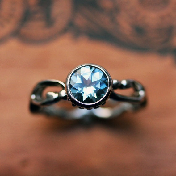 Blue topaz engagement ring - bezel solitaire - December birthstone - recycled sterling silver - swirl band ring - Wrought collection