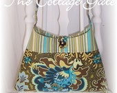 Amy Butler Brown Turquoise Lime GOTHIC ROSE and STRIPE SWING PURSE  Vintage Button