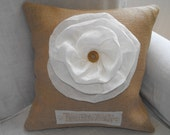 """SALE 30% Off French Country Burlap & Creamy Rose  """"LOVE"""" Pillow - Vintage French/English Dictionary - Code AUGUST30"""