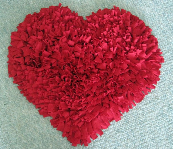 Custom Red HEART Cotton Shag RUG