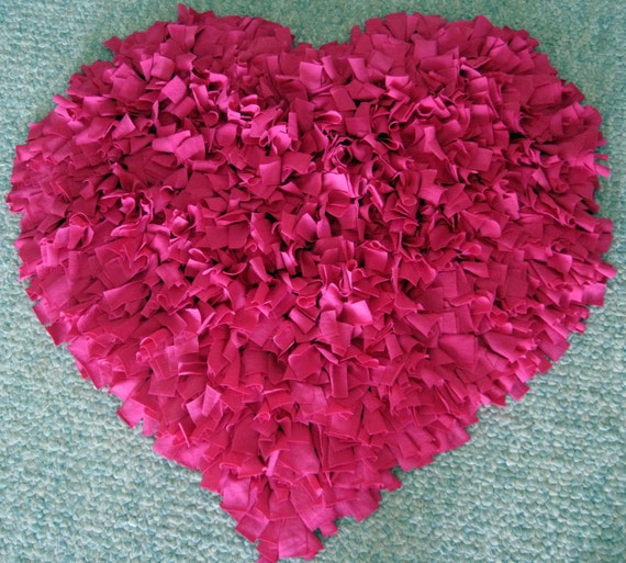 Custom Hot PINK HEART Cotton Shag RUG By WackyWenches On Etsy