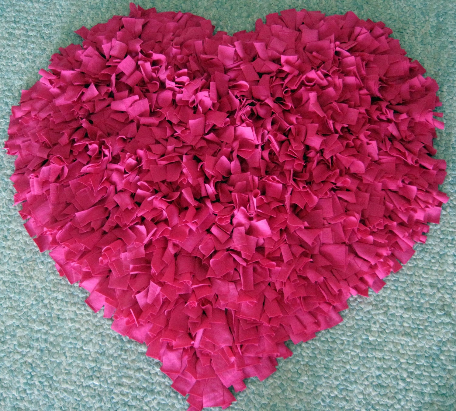 Custom Hot Pink Heart Cotton Shag Rug
