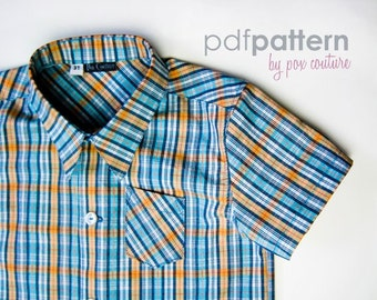 Kids Summer Shirt - PDF PATTERN and Instructions 18m-6
