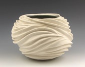 Carved Sculptural Ceramic Pottery Vessel: Creamy Porcelain