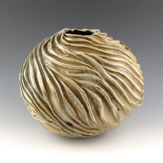 Wood Fired Orb Shaped Carved Sculptural Ceramic Pottery Vessel