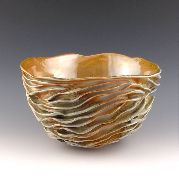 Juicy wood fired carved sculptural ceramic pottery bowl