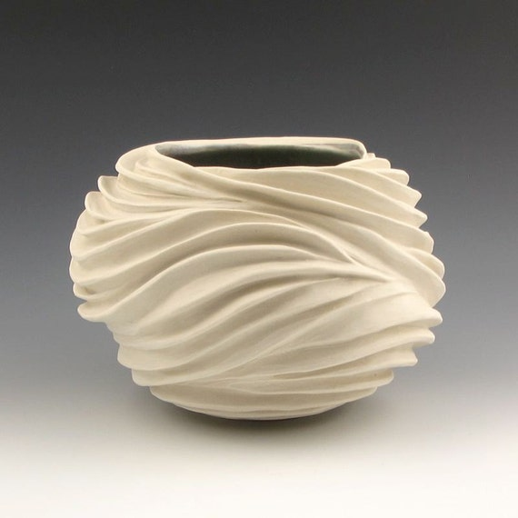 Carved sculptural ceramic pottery vessel creamy porcelain