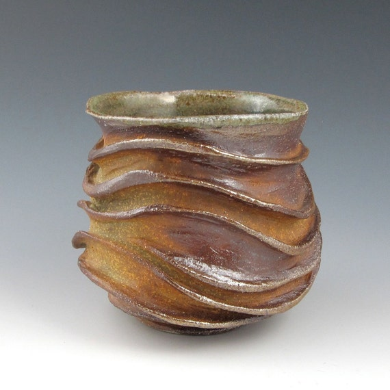 Flame Kissed Wood Fired Carved Sculptural Ceramic Pottery Tea Bowl