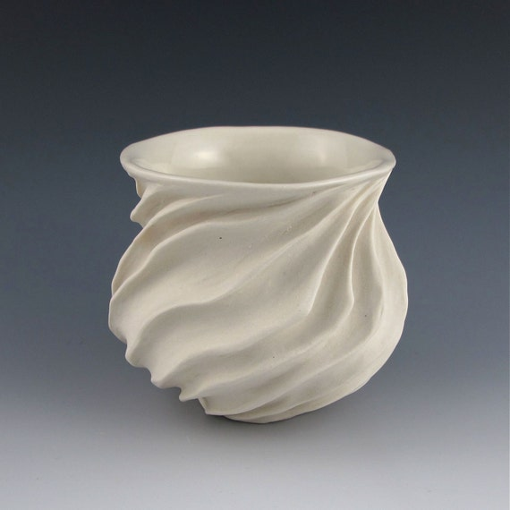 Modern Sculptural Ceramic Tea Bowl Creamy  White Porcelain 1