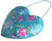 Blue pink decoupage heart decoration shabby chic paper mache