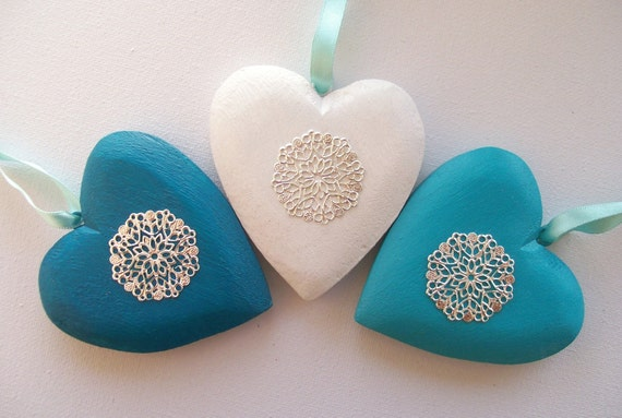 Set of Three - Silver, blue and white hand-painted wooden Christmas heart decorations