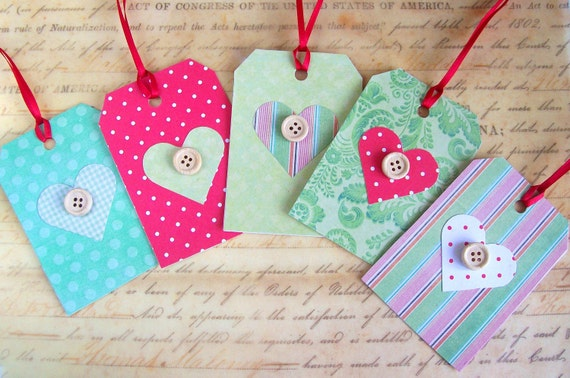 Handmade Christmas gift tags hearts and buttons