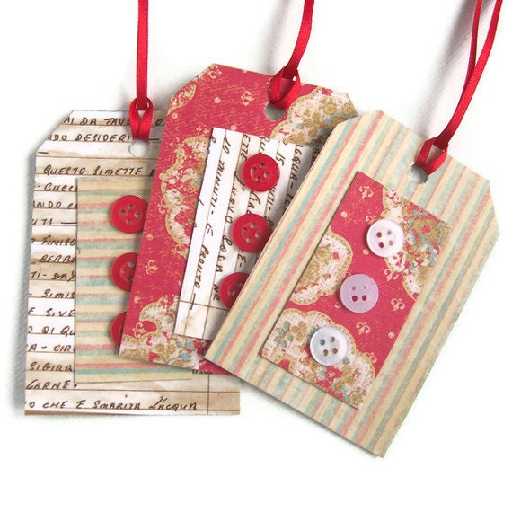 Handmade gift tags with buttons wrap scrapbooking