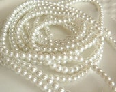 4mm White Glass Pearls, 16 inch Strand