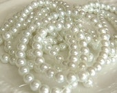 6mm White Glass Pearls, 16 inch Strand