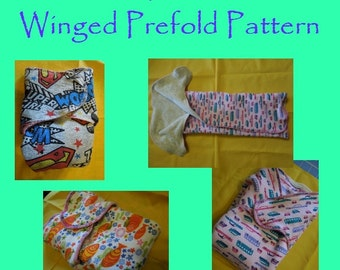Winged / Tabbed Prefold Cloth Diaper PDF Sewing Pattern