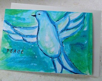 PEACE set of 6  Christmas art cards, Dove watercolor painting, blue green notecard, Holiday, Hanukkah,  New Year