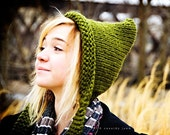 Handmade Knit Hat - Pixie Hat in Olive Green