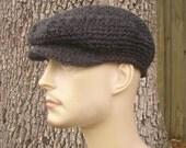 Crochet Hat Grey Mens Hat Grey Womens Hat Grey Newsboy Hat - Golf Hat Flat Cap in Charcoal Grey Crochet Hat Grey Hat