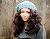 Glacier Blue Slouchy Hat Chunky Knit Hat Womens Hat Blue Slouchy Beanie - Soho Beret - Blue Hat Blue Beret Blue Beanie Womens Accessories