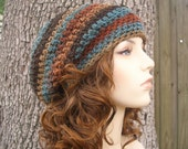 Crochet Hat Womens Hat Slouchy Beanie - Weekender Slouchy Hat in Rust Brown Teal Crochet Hat - Womens Accessories