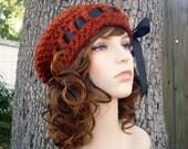 Crochet Hat Womens Hat - Escargot Beret Rust Orange Crochet Hat - Rust Hat Rust Beanie Rust Beret Orange Hat Orange Beret Womens Accessories