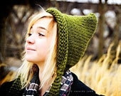 Knit Hat Womens Olive Green Pixie Hat Womens Accessories Fall Fashion Winter Hat - READY TO SHIP