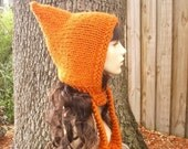 Knit Hat Orange Womens Hat - Pixie Hat in Pumpkin Orange Knit Hat - Womens Accessories Orange Hat Orange Pixie Hat - READY TO SHIP -