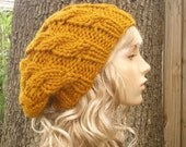 Knit Hat Womens Hat Slouchy Beanie - Mustard Cable Beret Hat in Mustard Yellow Knit Hat - Mustard Hat Mustard Beret Womens Accessories