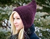 Knit Hat Purple Womens Hat - Purple Pixie Hat in Eggplant Purple Knit Hat - Purple Hat Womens Accessories Winter Hat
