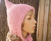 Knit Hat Womens Hat - Pixie Hat in Blossom Pink Knit Hat - Pink Hat Pink Pixie Hat Pink Hood Pink Ear Flap Hat Womens Accessories Winter Hat
