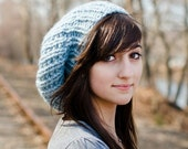 Knit Hat Womens Hat Slouchy Beanie - Soho Beret in Glacier Blue Knit Hat - Blue Hat Blue Beret Womens Accessories