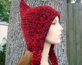 Labor Day Sale - Hand Knit Hat Womens Hat - Pixie Hat in Lumberjack - READY TO SHIP - Fall Fashion Autumn Fashion Autumn Accessories
