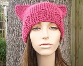Knit Hat Womens Hat - Pink Cat Beanie Hat in Raspberry Pink Knit Hat - Pink Cat Hat Pink Hat Pink Beanie Womens Accessories