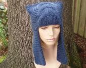 Knit Hat Blue Womens Hat - Dragon Slayer Blue Ear Flap Hat in Denim Blue Knit Hat - Blue Hat Blue Beanie Womens Accessories Winter Hat