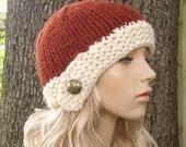 Knit Hat Womens Hat - Cloche Hat in Rust Orange and Cream Knit Hat - Orange Hat Orange Beanie Womens Accessories Winter Hat