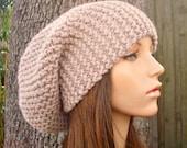 Linen Cream Womens Hat Slouchy Beanie - Slouchy Hat Cream Linen Knit Hat - Cream Hat Cream Beanie Womens Accessories Winter Hat