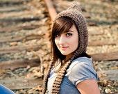 Knit Hat Brown Womens Hat - Brown Pixie Hat Barley Brown Knit Hat - Brown Hat Womens Accessories Winter Hat