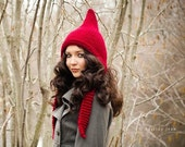 Hand Knit Hat Womens Hat - Pixie Hat in Red Cranberry - Chunky Knit Winter Fashion Black Friday