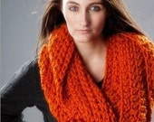 Circle Scarf Infinity Scarf Crocheted Cowl Chunky Scarf - Vermonter Infinity Cowl in Pumpkin Orange Oversized Cowl Orange Cowl Orange Scarf