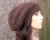 Brown Womens Hat Slouchy Beanie - Weekender Slouchy Hat Chocolate Brown Crochet Hat - Womens Accessories Fall Fashion Winter Hat
