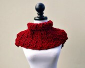 Crocheted Cowl Scarf - Lucienne Cowl in Cranberry Red Cowl - Red Scarf Womens Accessories