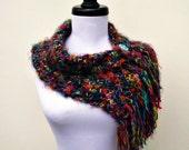 Crocheted Rainbow Cowl Rainbow Scarf - Scarflette Cowl in Metropolis - Womens Scarf Womens Cowl Womens Accessories