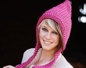 Raspberry Pink Pixie Hat Chunky Knit Hat Pink Womens Hat -  Pink Knit Hat Pink Hat Womens Accessories Fall Fashion Winter Hat