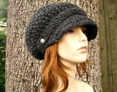 Crochet Hat Grey Womens Hat Grey Newsboy Hat - Crochet Newsboy Hat Charcoal Grey Hat Grey Beanie Womens Accessories - READY TO SHIP