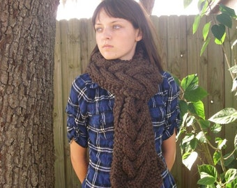 Knit Scarf, Cable Scarf, Wood Brown Cable Scarf, Brown Scarf, Womens Scarf, Cable Knit Scarf, Womens Accessories