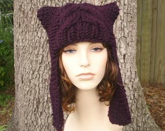 Purple Womens Hat - Dragon Slayer Purple Ear Flap Hat Eggplant Purple Knit Hat - Purple Hat Purple Beanie Womens Accessories Winter Hat