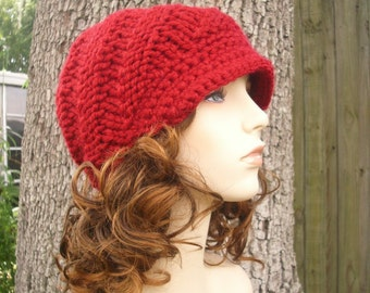 Red Knit Hat Red Womens Hat Red Newsboy Hat - Swirl Beanie with Visor Cranberry Red Hat - Red Beanie Womens Accessories